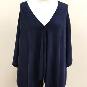 NWT Shawl With Buttons Navy Blue